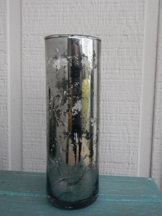 Sale tall mercury glass vase or candle holder by for Tall candle vases