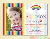 Rainbow Birthday Invitation - Girls Rainbow Party Photo Invitation -  Printable 1, 2, 3, 4, 5 year old or ANY age Birthday Invite