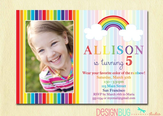 Rainbow Birthday Invitation Girls Rainbow Party Photo