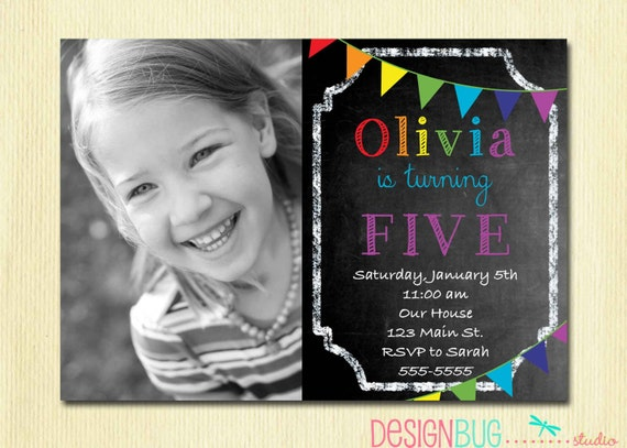 rainbow chalkboard birthday invitation girl or boy custom
