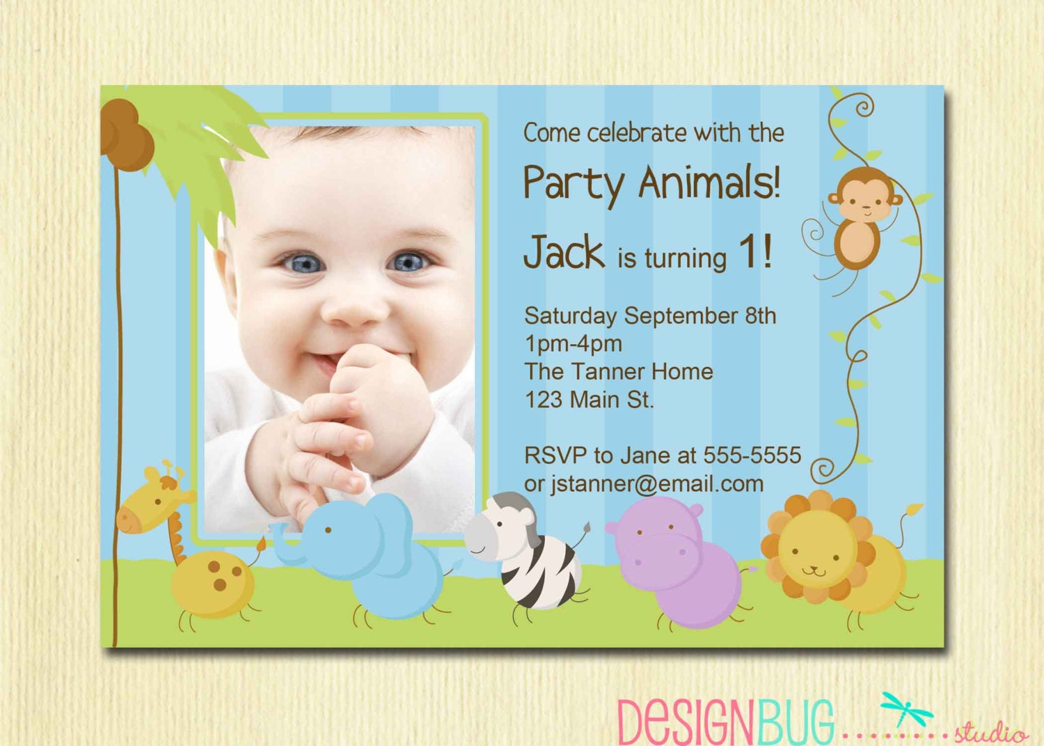 First Birthday Boy Invitation Baby Jungle Safari Party – One Year Old Birthday Invitation