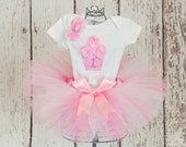 Baby Girl's 1st Birthday Outfit-3 Piece Sewn Tulle Tutu Skirt with Shirt and 3D Cupcake w/ Age Number & Headband - 9 month-4T