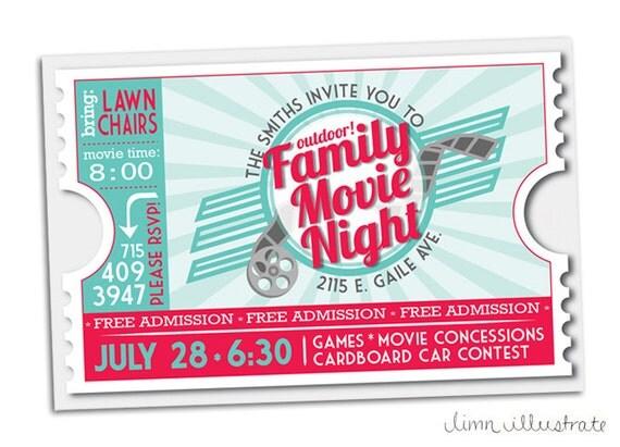 Items similar to Retro Movie Ticket Family Movie Night Printable – Movie Ticket Invitation Template Free Printable