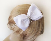 Flower girl Headband, White flower girl wedding Accessories, Bridesmaid Headband, Prom Headband, flower girl gift