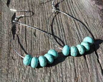 Turquoise dyed howlite hoop earrings