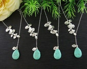 Set of 5 Lariat Necklaces, Birthstone Initial Necklaces, Orchid, Leaf Necklace, Bridesmaid jewelry gifts, choose your stone