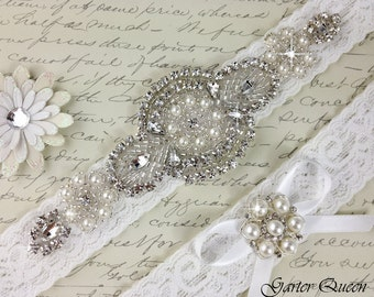 Wedding garter set, Bridal Garter set, Off White Stretch Lace Bridal Garter, Rhinestone and Crystal Garter, Rhinestone Garter