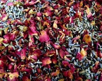 2lbs Premium Organic Dried Wedding Flower ROSE & LAVENDER Toss Bud Dry Rose Petal Wedding Sachet Bridal Shower Favor Super Blue Lavendar 1kg