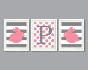Bunny Rabbit Art Print Set of Three 11x14-Monogram Initial, Polka Dots, Stripes-Nursery, Kids Room-Pink, White, Grey/Gray OR Choose Color