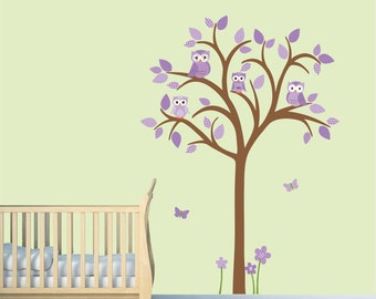 Owl tree wall decal, Owl tree wall sticker, Girl Owl Tree Wall Decal, purple nursery wall decal, nursery owl decor, Lauren Design