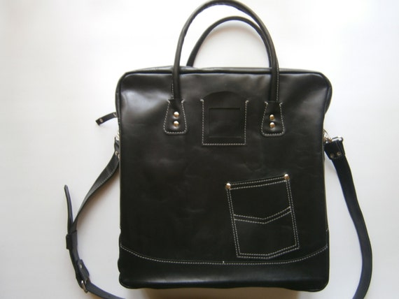 Business 15inch Laptop Messenger Bag,Handmade Black Laptp bag,Genuine Leather office Bag, Casual Laptop Bag, Made to order Bag