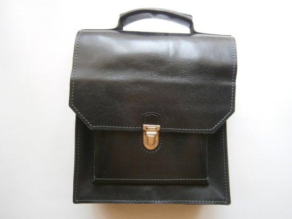 iPad Black Top Handle Bag, Black Messenger Bag, Black Leather Briefcase, Man office Bag, Unisex Briefcase, Handmade Office Bag