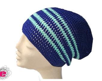 Beanie, crocheted hat blue green,