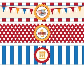 Dumbo Circus Personalized Waterbottle Labels - Personalized - PRINTABLE- Digital File