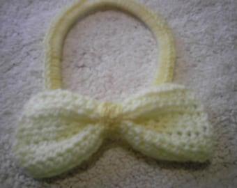 Large Yellow Bow Crocheted Headband Light Yellow summer headband