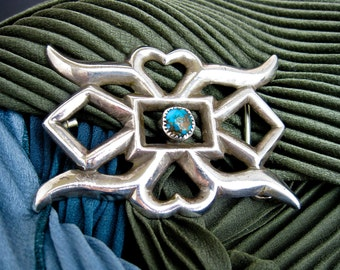 1930s Wide, Signed Atkinson, Navajo Silver and Turquoise Belt Buckle, Native American S.W. USA pre WWII.