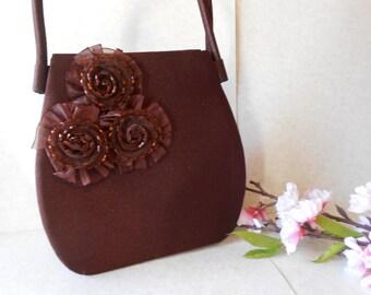 Brown Evening Bag. Beaded Evening Bag, Vintage Brown Purse,  Beaded Handbag, Brown Bead Purse EB-0359