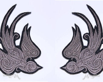 Baroque Swallow Sparrow Grey Rockabilly Iron On Embroidery Patch MTCoffinz - Mirror Pair