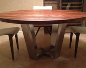 Custom Round Strip Wood Dining Table on Brushed Stainless Steel Base