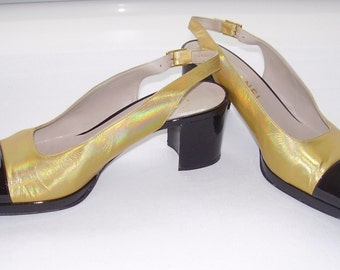 Gold And Black SLING BACK CHANEL Shoes.