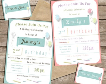 Printable Birthday Party Invitation and Thank You's Pink/Blue