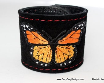 Black Suede Butterfly Cuff - Leather Black Cuff - Black Suede Leather Bracelet - Butterfly Suede Cuff - Butterfly Leather cuff - Made In Usa