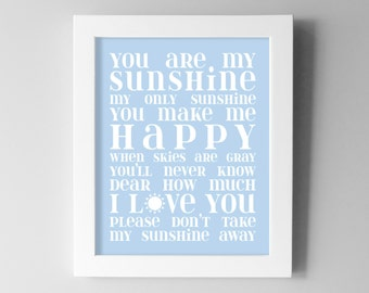 Baby Boy Nursery Wall Art - You are My Sunshine Nursery Decor - Blue Nursery Art Prints - Kids Room Subway Art - Sky Blue / Yellow Shown