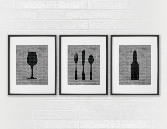 Modern dining room art prints black white kitchen beer for Modern dining room wall art