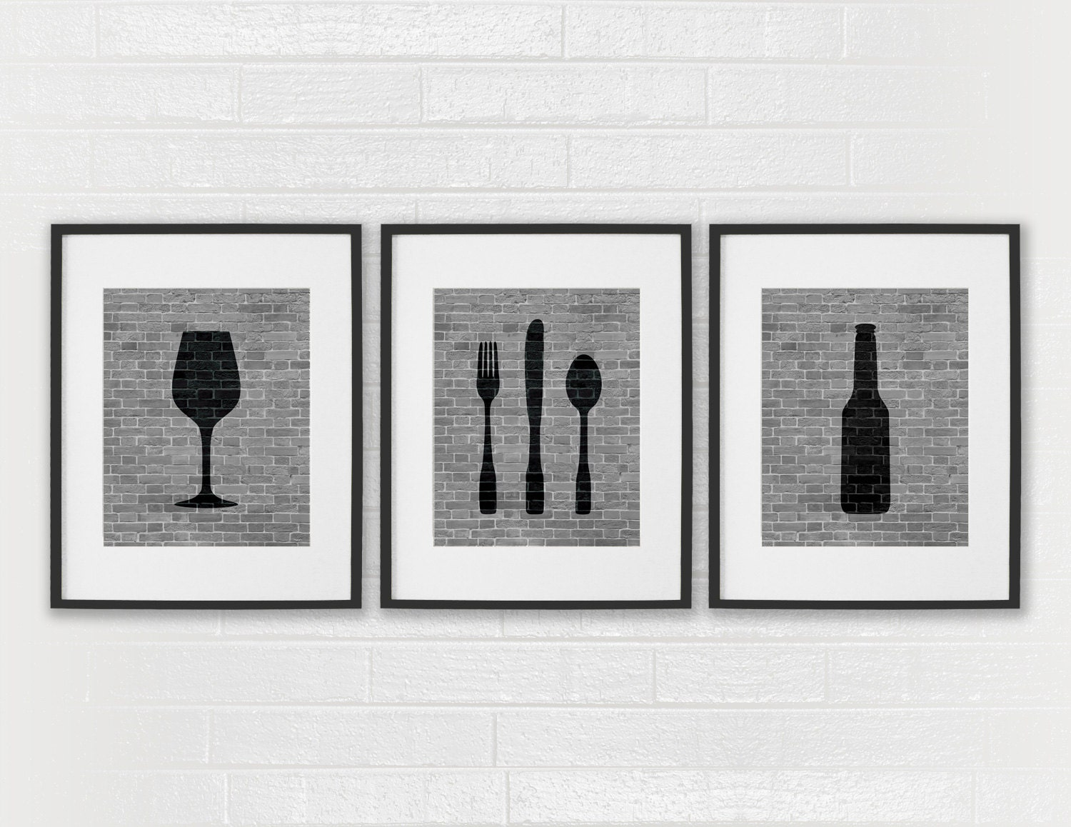 Modern dining room art prints black white kitchen beer for Kitchen wall art sets