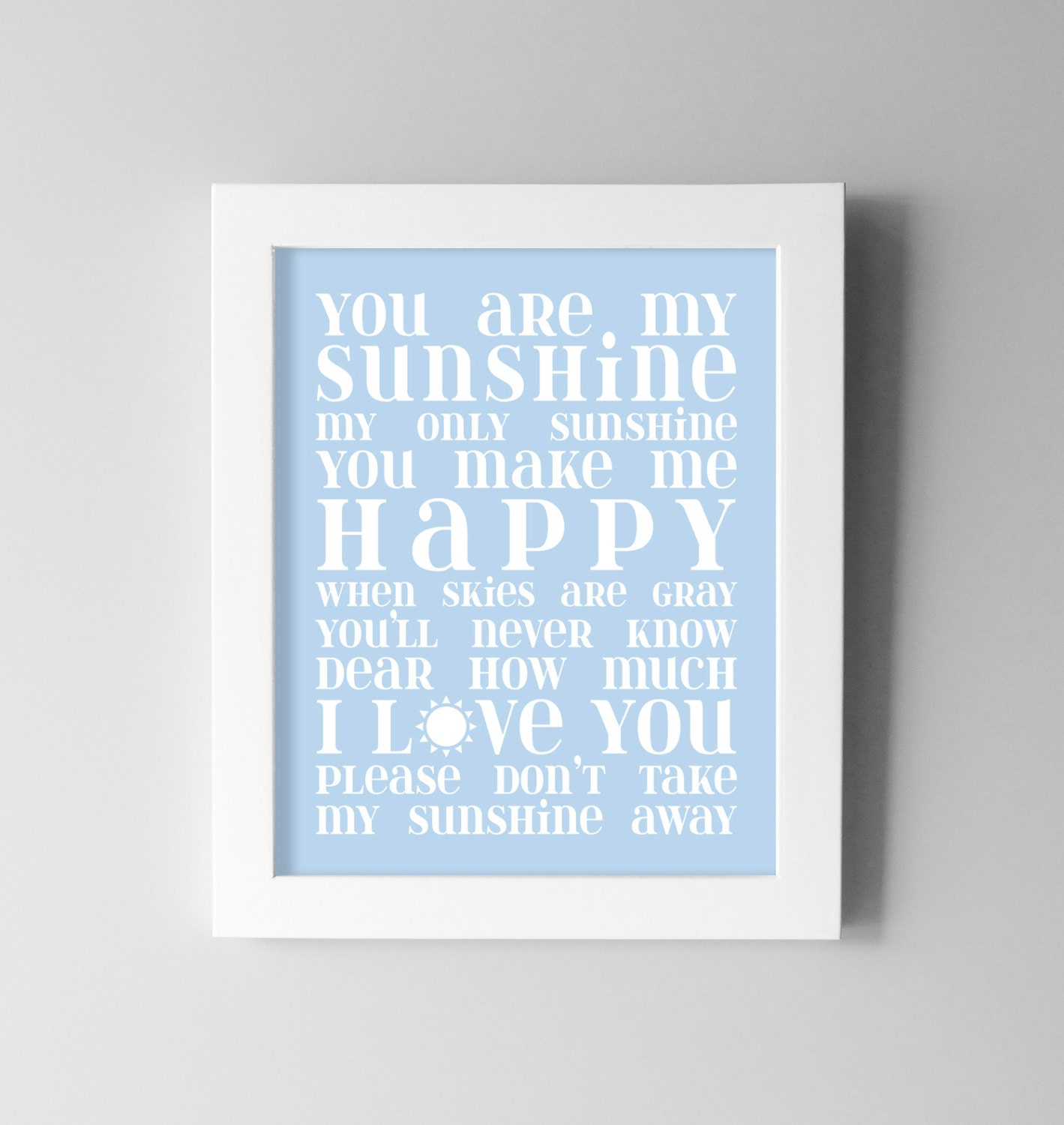 Baby Boy Nursery Wall Art You Are My Sunshine By DaphneGraphics