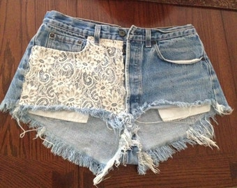 High Wasted Lace Denim Cut Off Shorts