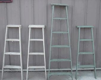 """Vintage Wooden 4 Step Ladder Shelf - 46"""" tall - Choose a Vintage Surface or Pick a Color"""