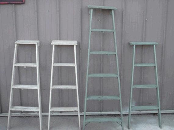 Vintage Wooden 4 Step Ladder Shelf - 46