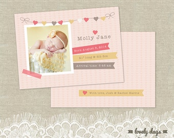 Birth Announcement Card PSD Template INSTANT DOWNLOAD