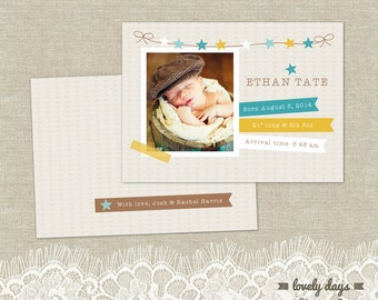 Birth Announcement PSD Template INSTANT DOWNLOAD