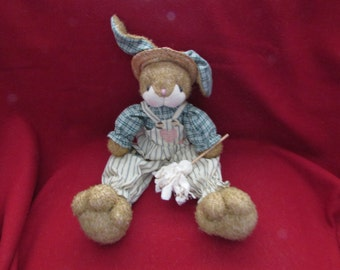Vintage fabric bunny in overalls with duster