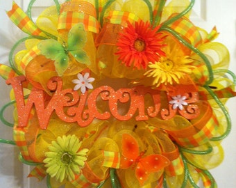 Summer mesh wreath/ Summer wreath/  welcome deco mesh wreath