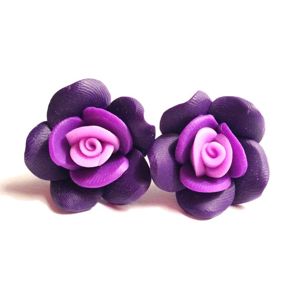 Purple Rose Earrings - 25mm Polymer Clay Beads, Silver Plated Stud Posts, Plum, Lavender, Lilac, Violet, Large Flowers, Statement Earrings