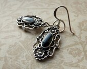 Vintage sterling silver and onyx scrollwork earrings, never worn