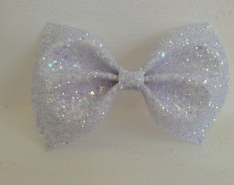 Medium White Glitter Bow / White Glitter Bow / Glitter Fabric Bow / Headband / Sparkly Hair Clip / Bow Hair Clip