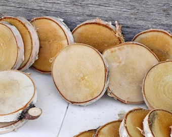 "WHITE BIRCH Wood Slices, 2 - 2.5"" Diameter by .25"" Thick, Small Wood Slices, Discs, Craft Supply"