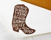 Custom Return Address Stamp: Cowboy Boot Stamp