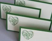 Celtic Knot Heart Wedding Place Cards Set of Twelve, Irish Wedding Food Tents or Favor Bag Toppers