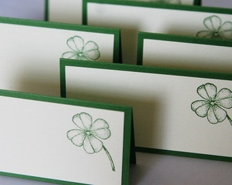 Shamrock in Green Wedding Place Cards Set of Twelve, Party Place Cards, Party Favor Treat Toppers, Celtic Wedding Escort Cards