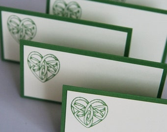 Celtic Knot Heart Wedding Place Cards Set of Twelve, Irish Wedding Food Tents or Favor Bag Toppers