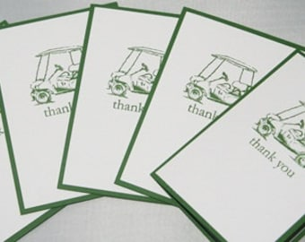 Golf Cart Thank You Set of  Ten Hand Made Note Cards, Golf Thank You Stationery