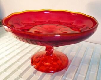 Ruby Red Glass Pedestal Bowl Thumbprint Centerpiece