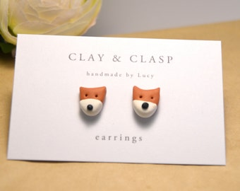 Fox earrings - beautiful handmade polymer clay jewellery by Clay and Clasp