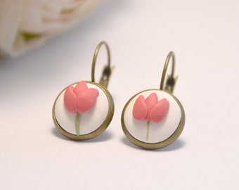 Tulip Dangly Earrings - beautiful handmade jewellery by Clay and Clasp