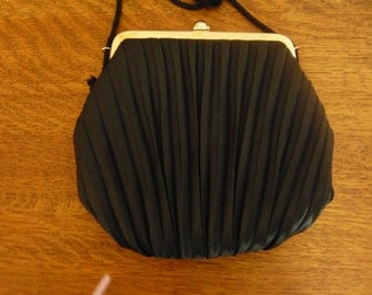 Vintage Black Silk Pleated Handbag Hong Kong